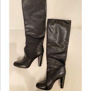 ELIE TAHARI Black Knee High Leather Boots Sz 39